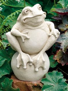 One of our most popular frog sculptures has been the frog on the ball statue. Functional as a door stop or garden art. Pottery Animals, Ceramic Animals, Clay Animals, Ceramic Art, Frog Statues, Garden Statues, Sculptures Céramiques, Sculpture Clay, Garden Sculptures
