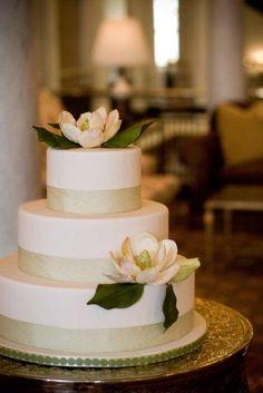 Magnolia Wedding Cake... love it! Maybe just add a few pearls