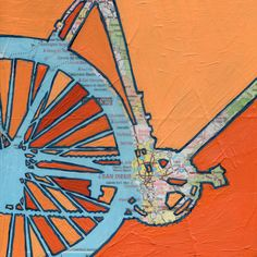 Bike San Diegobicycle art on a vintage california by OffTheMapArt, $15.00