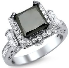 2.60ct Black Princess Cut Diamond Engagement Ring 14k White Gold / Front Jewelers