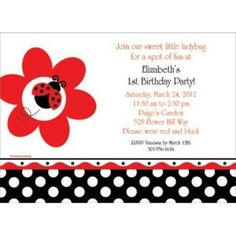 Check out Ladybug Party Personalized Invitation - Wholesale Birthday Party…