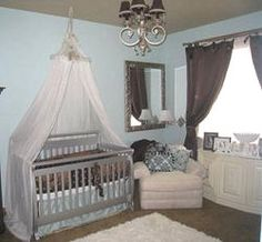 A chocolate brown and baby blue boy nursery with crib canopy. Mom bought all furniture & 64 Blue Nursery Ideas | Blue nursery ideas Nursery and Nursery design