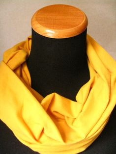 Mustor Yellow Jersey Knit Infinity Scarf-  FREE SHIPPING, solid color, scarf,  knit, circle scarf, winter, fall Christmas #bestofEtsy #etsymntt