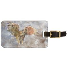 Eagle in watercolor luggage tag - gold gifts golden customize diy