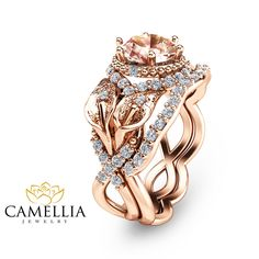 """Rose Gold Morganite Bridal Ring Set Unique Natural Morganite Bridal Ring Set Rose Gold Flower Engagement Ring Set - Camellia Jewelry - For That """"Yes"""" Moment Wedding Ring Sets Unique, Big Wedding Rings, Wedding Rings Solitaire, Bridal Ring Sets, Wedding Rings Vintage, Bridal Rings, Unique Rings, Wedding Jewelry, Gold Jewelry"""