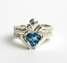 Claddagh Engagement Ring Blue Stone 6