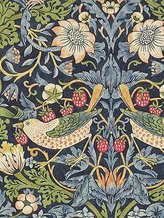 Morris & Co Strawberry Thief Wallpaper, 212564