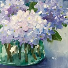 """Daily Paintworks - """"French Classic"""" - Original Fine Art for Sale - © Libby Anderson Hydrangea Painting, Oil Painting Flowers, Abstract Flowers, Watercolor Flowers, Painting & Drawing, Watercolor Paintings, Painting Portraits, Painting Tips, Abstract Paintings"""