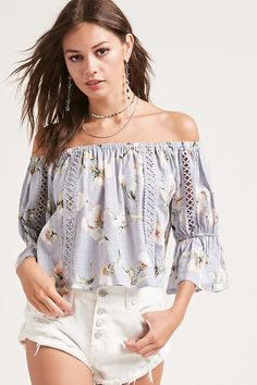 Product Name:Floral Off-the-Shoulder Top, Category:CLEARANCE_ZERO, Price:38