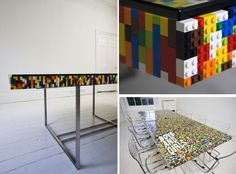 Can you imagine designing a tabletop for your dining table made entirely of Lego blocks? Or maybe a table for the meeting room. It would be a wonderful team building project.{found on tisztaszoba}.