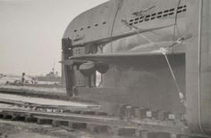 The stern of a Type XXI U-boat shown on the slipway.