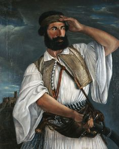 Oil on canvas, 98 x 80 cm Caucasian Race, Greek Independence, Greek Warrior, Greek History, In Ancient Times, Historical Photos, Traditional Art, Art Reference, Oil On Canvas