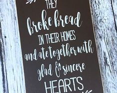 handmade wood signs & home decor by SignsbyJen on Etsy Christian Wall Decals, Christian Artwork, They Broke Bread Sign, Wood Signs Home Decor, Bible Verse Wall Art, Painted Wood Signs, Vinyl Wall Decals, Handmade, Etsy
