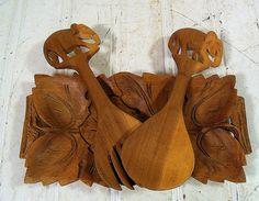 Vintage HandMade Wooden Spoon Fork Tray Set   by DivineOrders, $24.00