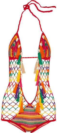 Anna Kosturova Monokini crocheted cotton swimsuit