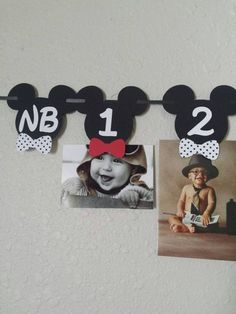 Mickey Mouse Photo Banner Mickey Mouse Bow by NettiesCraftyCorner Mickey Mouse Age, Theme Mickey, Mickey E Minie, Mickey Mouse Photos, Mickey Mouse First Birthday, Mickey Party, Boy First Birthday, First Birthday Parties, First Birthdays