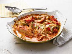 Paprika-Sahne-Hähnchen mit Käse und Sahne
