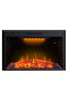 Valuxhome 43 Inches Electric Fireplace Recessed Fireplace Heater with Log Speaker, Timer, Remote Control, Black
