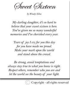 Sweet Sixteen Birthday Quotes Happy Poems