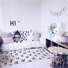 A collection of cool black and white boys rooms with little pops of colour