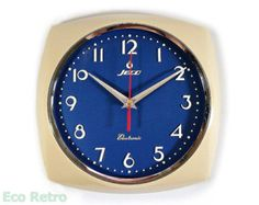 Rare Vintage 1960's Japanese Blue & Cream Retro Kitchen Wall Clock by Jeco