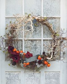 This wreath made with curved driftwood and wispy manzanita boughs is fabulous for fall