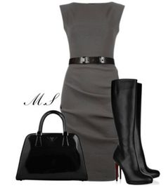 Fall dress with tall black boots - This is such a chic look with dress, boots and bag!