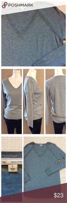 "GAP V-neck Sweater Simple closet staple by GAP.  Blue v-neck sweater that is excellent to wear alone or layered, perfect for office of casual. Size small, approximately 18"" chest, 25"" length. GAP Sweaters V-Necks"
