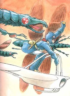 Nausicaa of the Valley of the Wind. Watercolor illustration by Hayao Miyazaki.