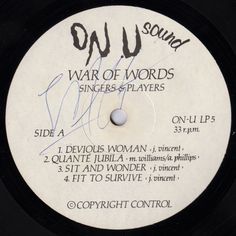 Singers & Players - War Of Words (Label)