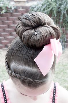 cute hair style for dance recitals and gymnastics meets
