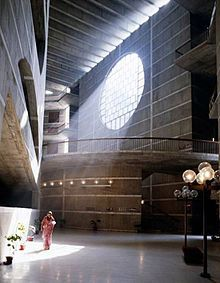 """jatiyo sangshad bhaban, Louis Kahn.  This is a great example of community architecture on a large scale.  Kahn really considered the culture and the needs of the people in Bangladesh in this design, and it is very apparent.  In the video that we watched with the """"My Architect"""" clip, it is clear that the people really appreciate this building and even worship it, and they value Kahn because of the effort and thought he put into it."""