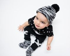 Lucky No.7   knitted pants matching with kriss kross tee and dip dye knitted hat