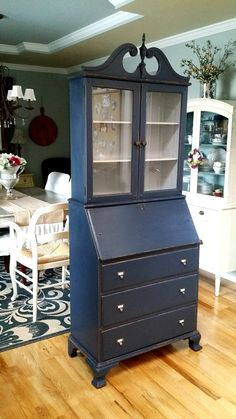 Cherry Hill, NJ  Bookcase Desk Shabby Chic Painted Ball And Claw Feet Secretary Two Door Cabinet  | Big Girl Rooms | Pinterest | Bookcase Desk, Cherry Hill ...