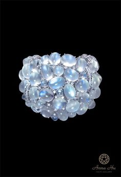 Moonlight Soft bangle. Anna Hu moonstone and diamond