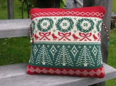 Holiday Knitted Wool Pillow Cover by TerrapinKnits on Etsy, $35.00