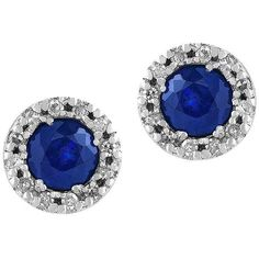 Effy Royale Bleu 0.12TCW Diamonds and Sapphire 14K  Stud Earrings (349,415 KRW) ❤ liked on Polyvore featuring jewelry, earrings, white gold, stud earrings, diamond fine jewelry, post back earring, 14k stud earrings and diamond jewellery