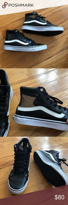 Mesh upper leather vans Really cool mesh and leather combo vans. Worn twice still in good condition! These are women's so they're the slimmer van! Purchased at madewell Madewell Shoes Sneakers