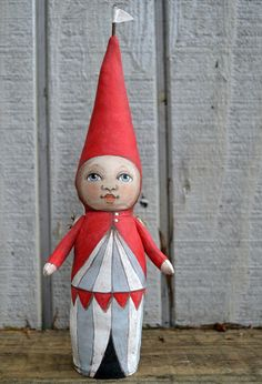 Circus Tent Sprout Original Hand Painted Folk Art Cloth Doll Sculpture Gnome Elf OOAK | Cart Before the Horse