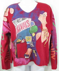 "KOLORWAY Size 2 XL Artsy ""Joy of Shopping"" Cotton Painted Pullover Sweater #Kolorway #VNeck"