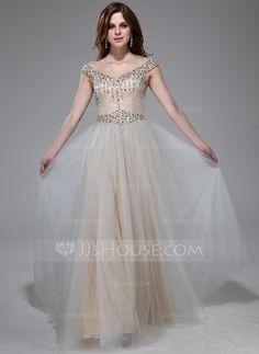 Prom Dresses - $169.99 - A-Line/Princess Off-the-Shoulder Floor-Length Taffeta Tulle Prom Dress With Beading Sequins (017041096) http://jjshouse.com/A-Line-Princess-Off-The-Shoulder-Floor-Length-Taffeta-Tulle-Prom-Dress-With-Beading-Sequins-017041096-g41096