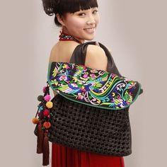 Guduo new original national wind embroidery bag women bag handmade pompon  shoulder bag fashion soft bag living in marital  79.35 4d4f868d0eff8