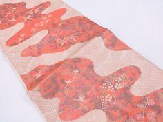 JAPANESE KIMONO / VINTAGE FUKURO OBI /  WOVEN STREAM WITH BIRD AND PLUM