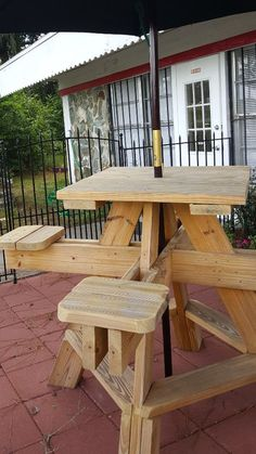 Hi - top picnic table(s). Unique design. Bar height picnic table with four attached individual stools. Well made and sturdy. New.