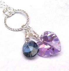 Crystal Amethyst Necklace Heart Necklace by SterlingSimplicity, $20.00