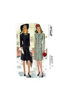 Wartime, Front Buttoned, Pleated Skirt One Piece Dress with Three Sleeve Lengths, Bust McCall's Sewing Pattern Reproduction Box Pleat Skirt, Box Pleats, Pleated Skirt, One Piece Dress, 1940s, Bodice, Sewing Patterns, Buttons, Skirts