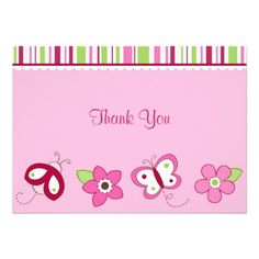 Raspberry Garden Ladybug Flat Thank You Note Cards Personalized Invitations Thank You Note Cards, Custom Thank You Cards, Garden Baby Showers, Personalized Invitations, Invitation Cards, Smudging, Paper Texture, Raspberry, Just For You