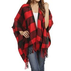 Amazing offer on TD Collections Women's Woven Buffalo Plaid Ruana Wrap Shawl, Scarf, Baseball Hat (Black/Red) online - Moretopshopping Plaid Infinity Scarf, Plaid Scarf, Plaid Outfits, Stylish Outfits, Pretty Outfits, Cute Outfits, Beautiful Outfits, Girl Outfits, Fashion Outfits