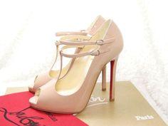 Beautiful! Christian Louboutin T DOUBLE Nude Peep Toe Pumps Heels