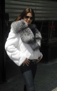 white mink & silver fox fur jacket  More Men's and Women's Fur Fashion Looks On @anandco #furfashion #furonline  Add, Pin, Share!